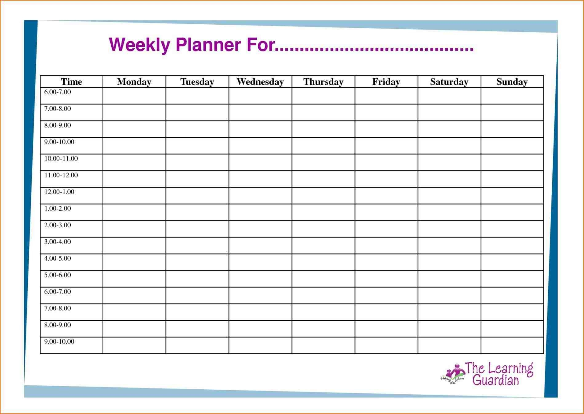 Calendar Planner Template Weekly Schedule And Task Planner Calendar for Weekly Planner Template For Students