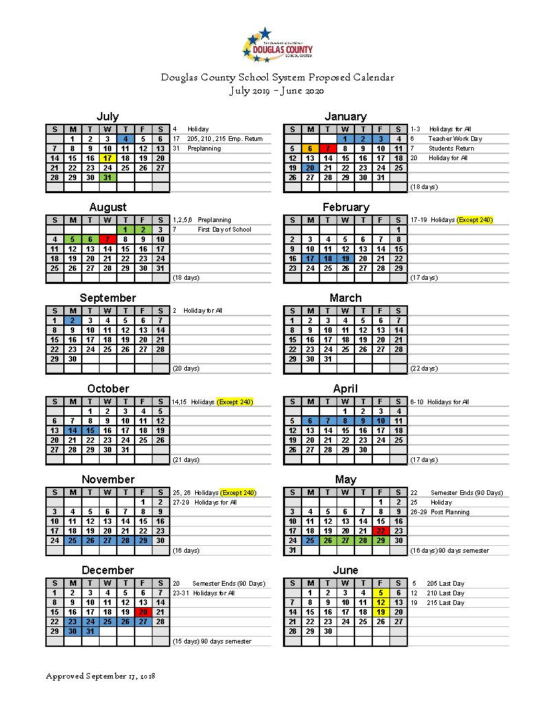 Calendar Set For 2019-2020 - Douglas County School System throughout Special Days Of The Year 2020