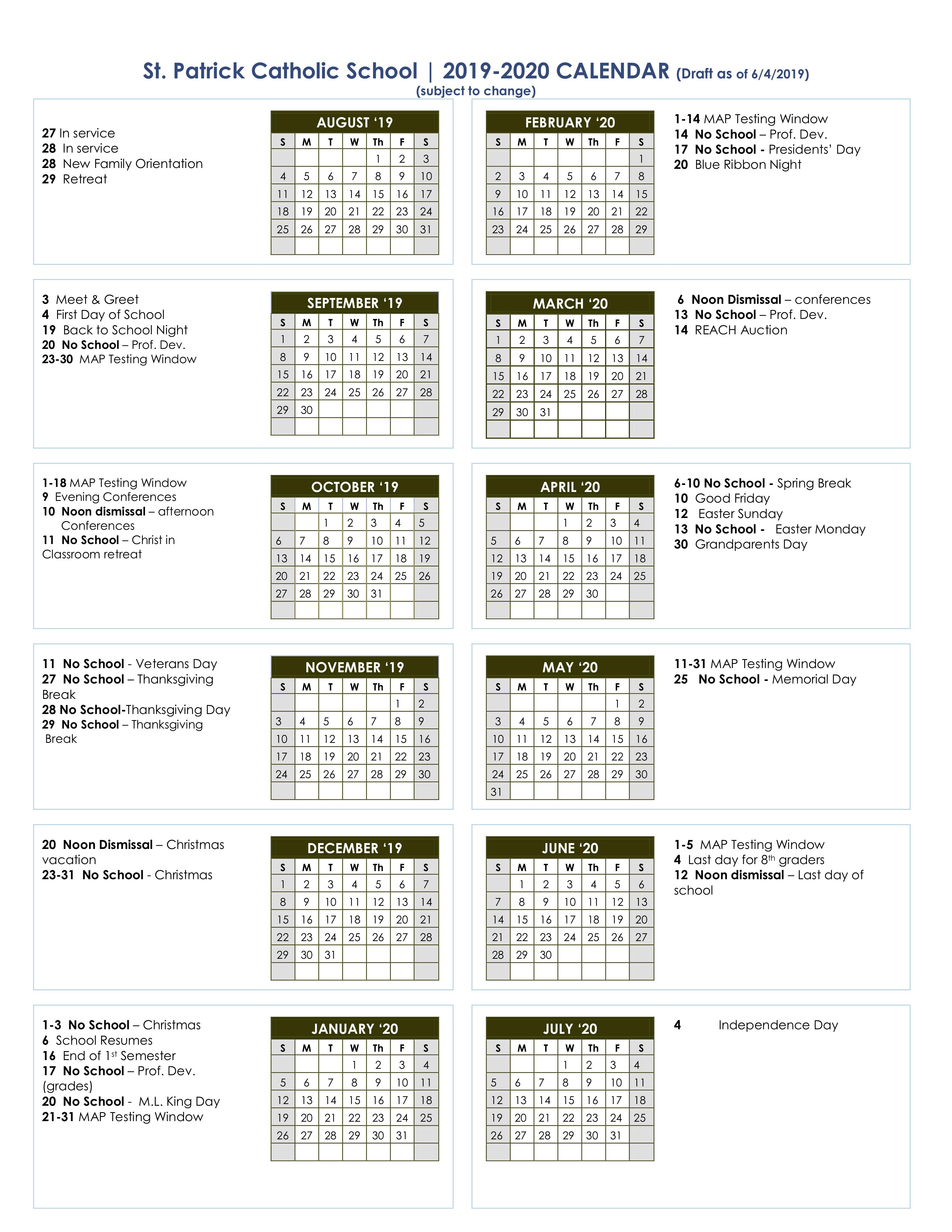 Calendar - St. Pat's Catholic School within Catholic Liturgical Calendar Year C 2019-2020