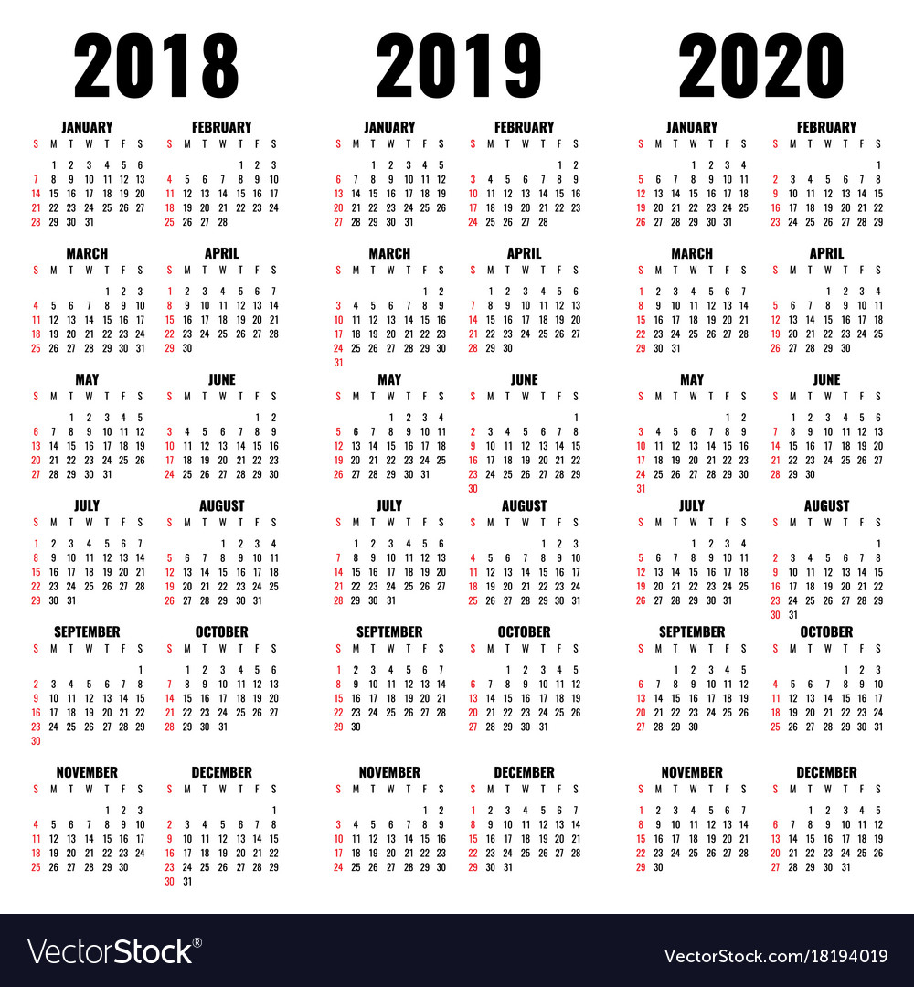 Calendar Template 2018 2019 And 2020 Years intended for Calendar For Rest Of 2019 And 2020