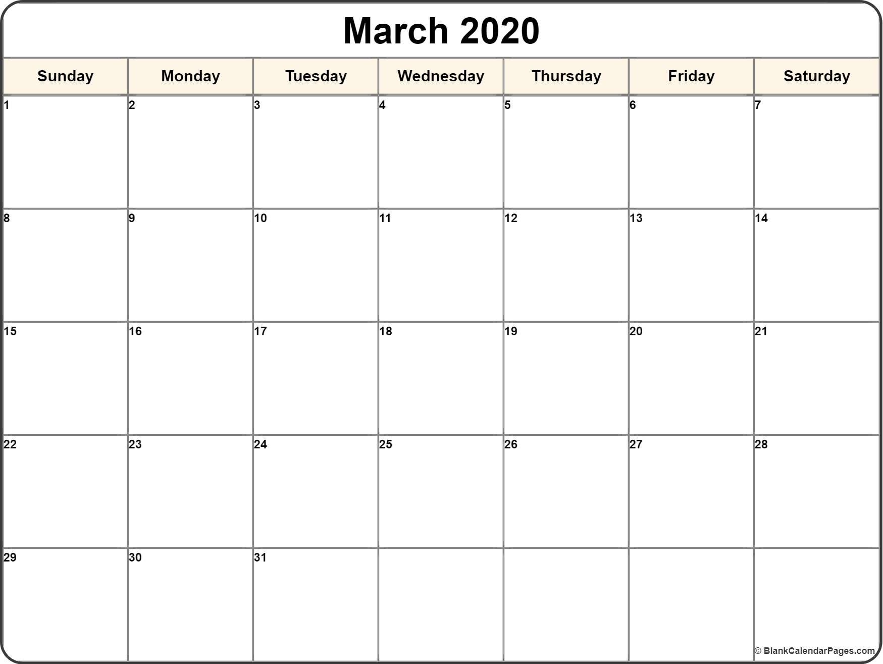 Calendar Template 2020 | One Page Calendar Printable in Free Printable Fill In Calendars 2020