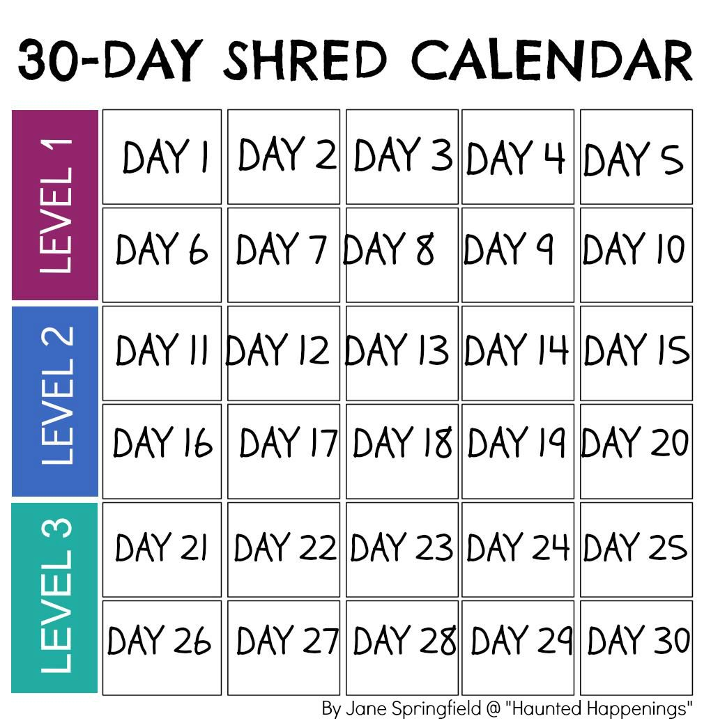 """Calendar Template For Jillian Michael's """"30-Day Shred"""" To Keep Track throughout 30 Day Workout Calendar Template"""