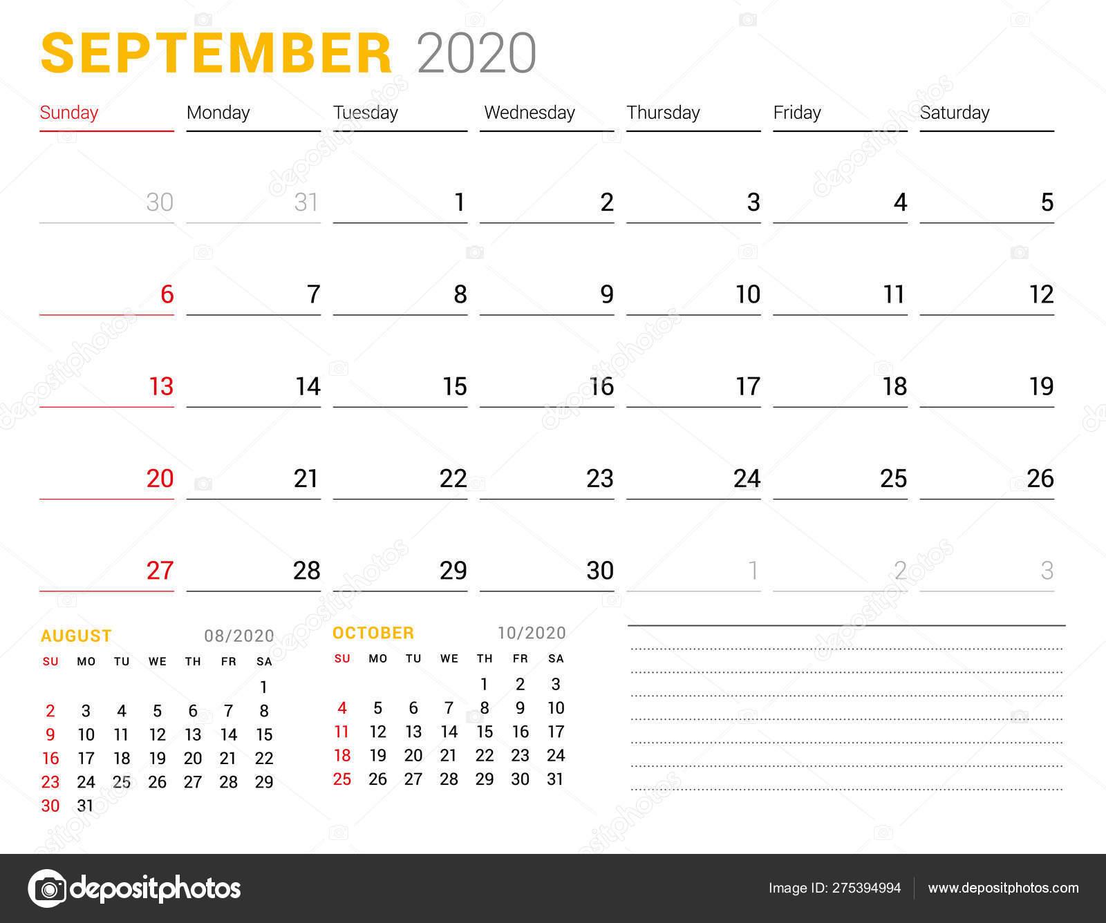 Calendar Template For September 2020. Business Planner. Stationery inside Blank Calendar 6 Weeks Start On Sunday
