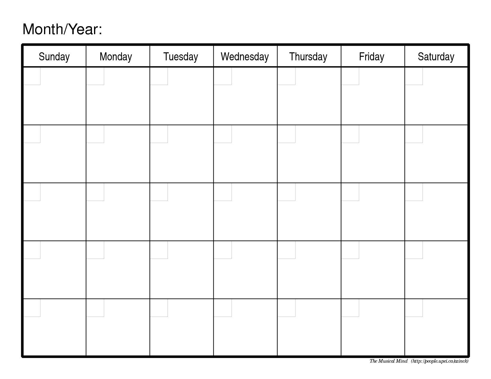 Calendar Template Print Outs Monthly Calendar Print Out Print pertaining to Blank One Month Calendar Template