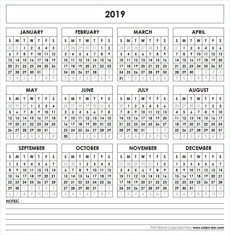 Calendar Year 2019 Printable - Erha.yasamayolver for Printable Year At A Glance Calendar 2019-2020