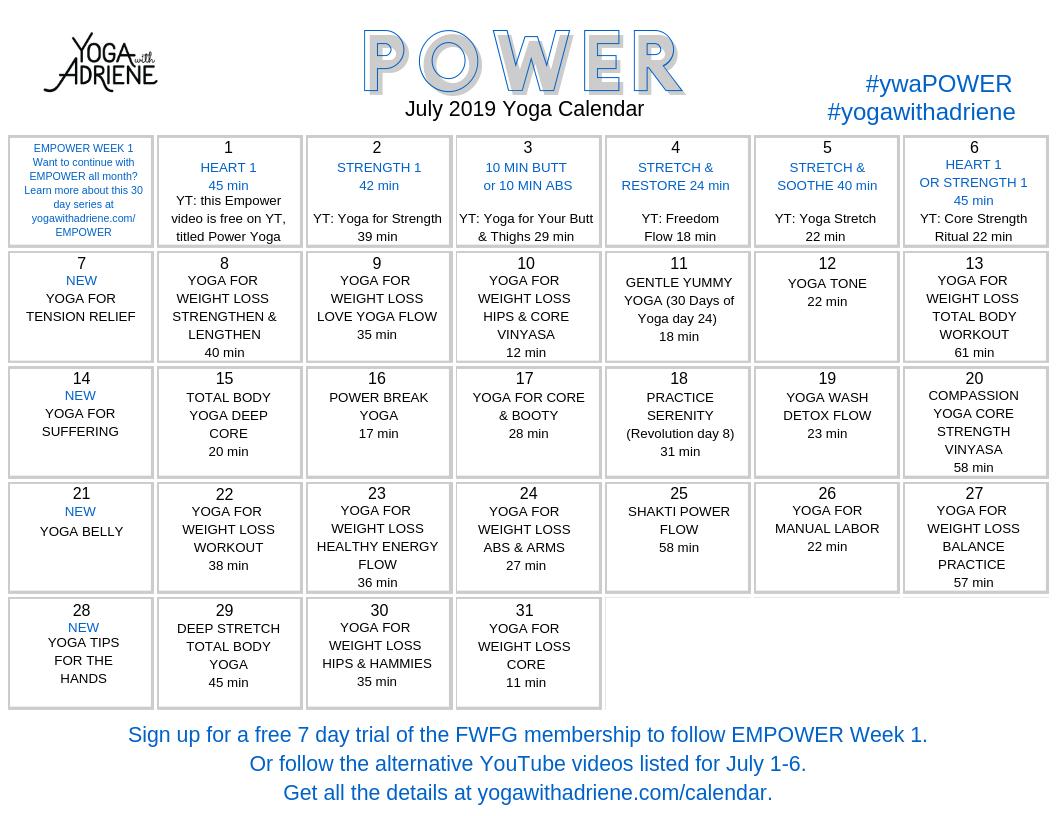 Calendar | Yoga With Adriene regarding 30 Day Workout Calendar Template