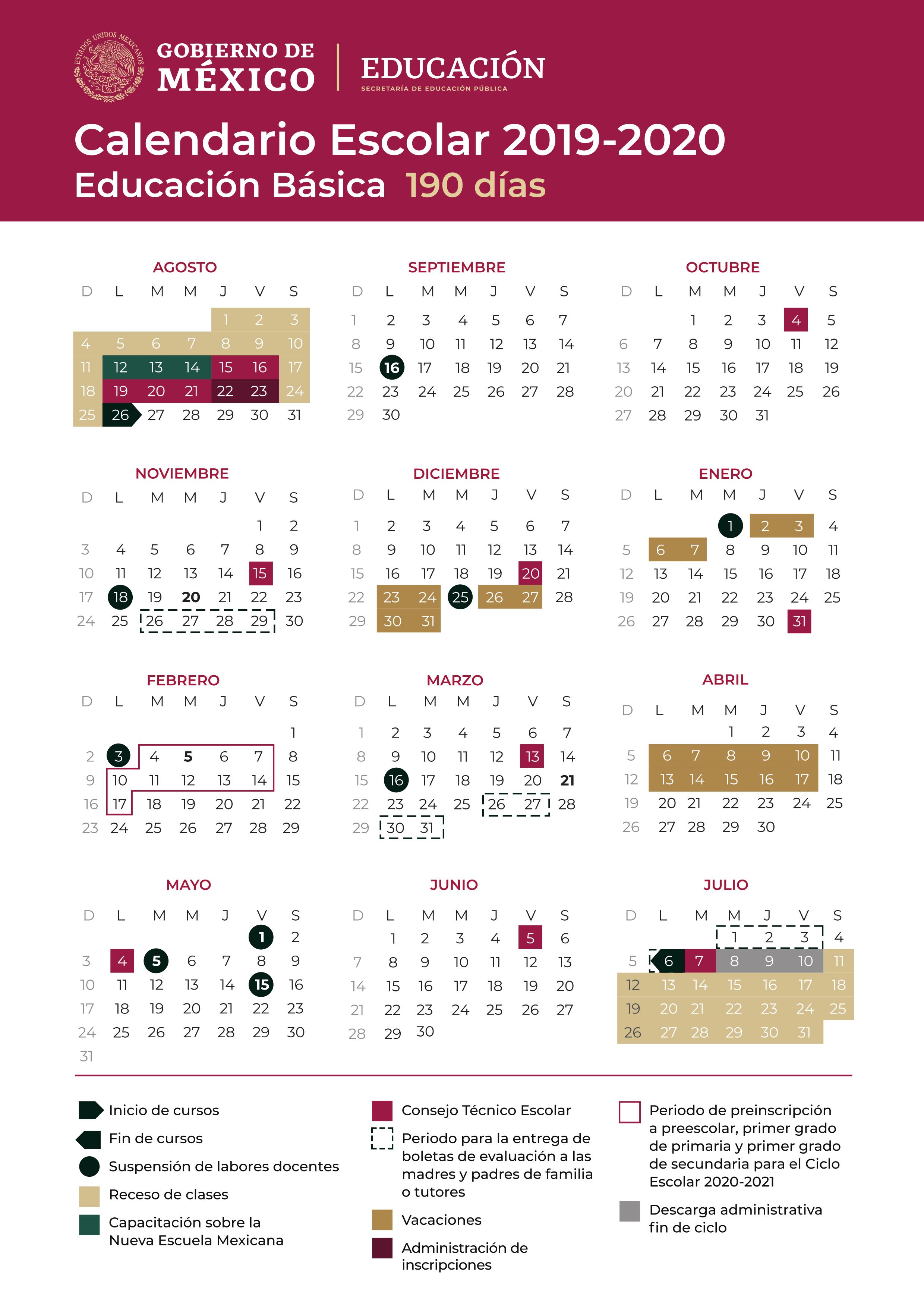 Calendario Escolar Oficial Sep 2019-2020 - Calendariolaboral.mx inside Calendario Liga Mx 2019 2020