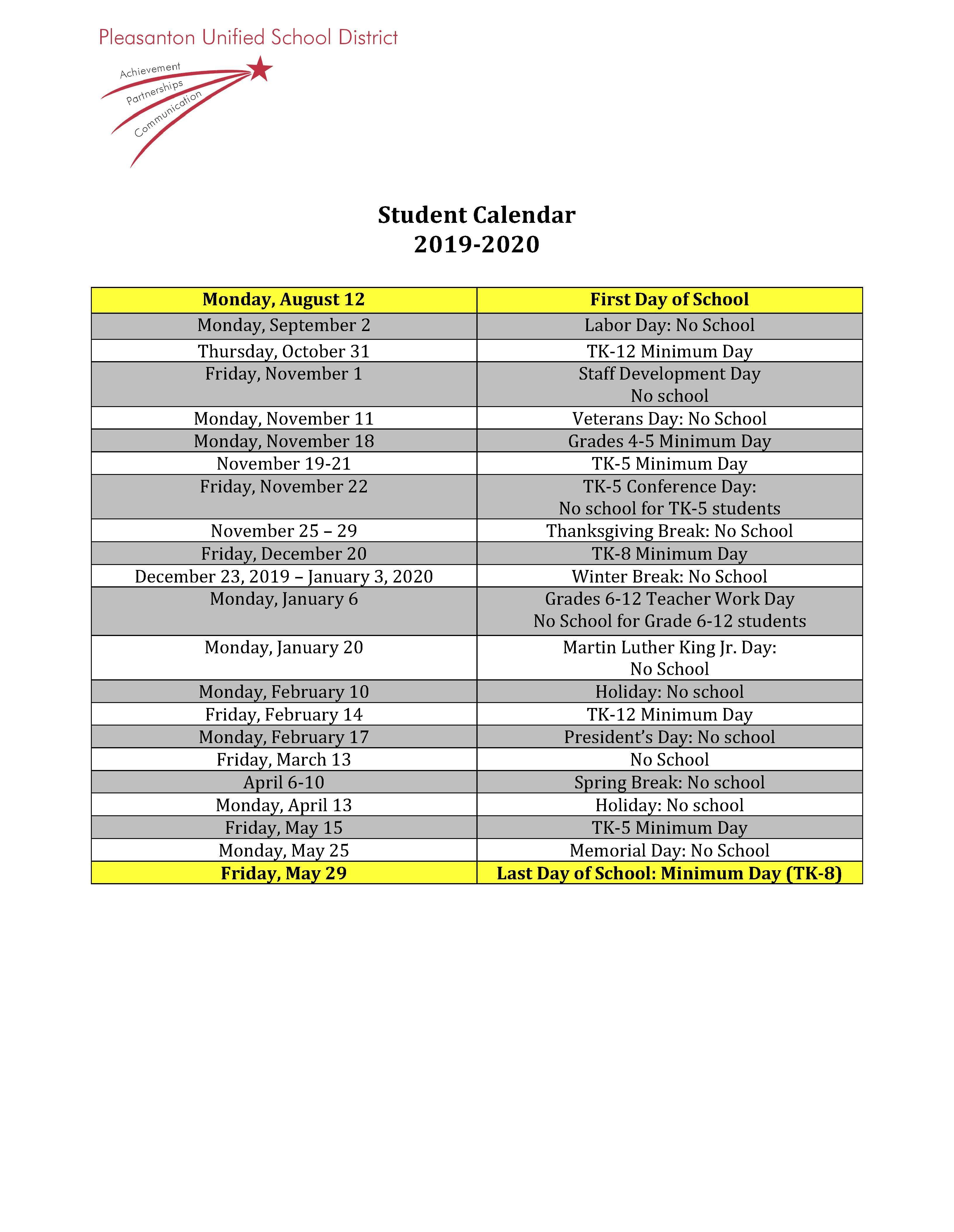 Calendars - Miscellaneous - Pleasanton Unified School District inside 2020 Calendar Sunday Through Saturday