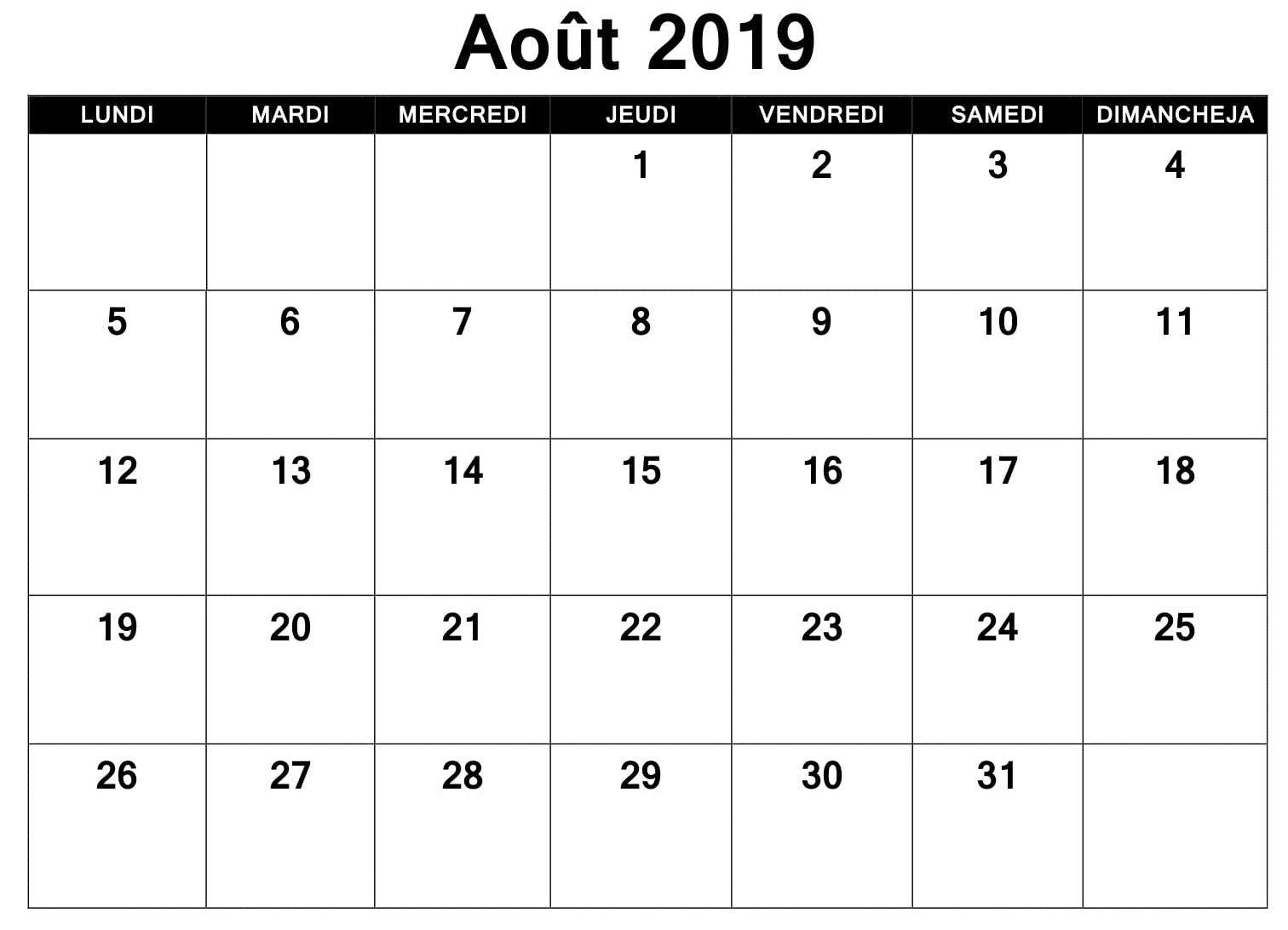 Calendrier 2019 Août Word | Calendrier Août 2019 | Excel Calendar intended for Word Calendar Template Excel
