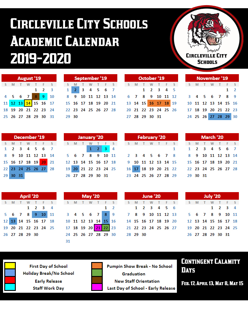 Circleville City Schools News Article in Calendar With All The Special Days In 2020