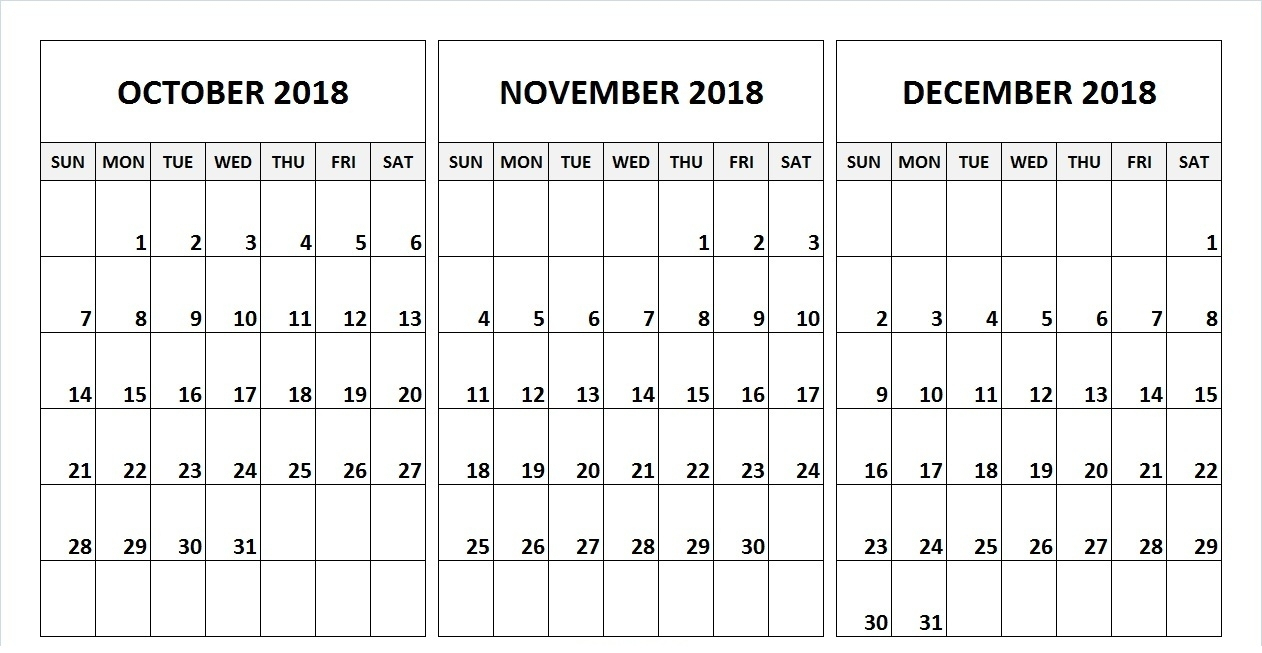 Collect October November And December 2019 Calendars With Holiday throughout Blank Calendar For November And December