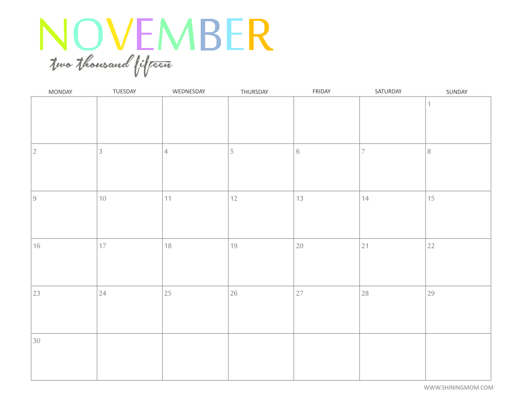 Colored-November-2016-Calendar-Blank with Editable 2015 Monthly Calendar Template
