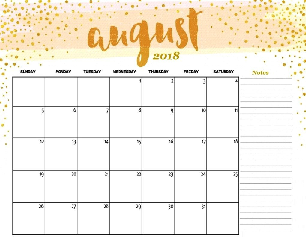 Colorful August Calendar 2018 With Reminders | August 2018 Printable intended for Blank August Colorful Calendar