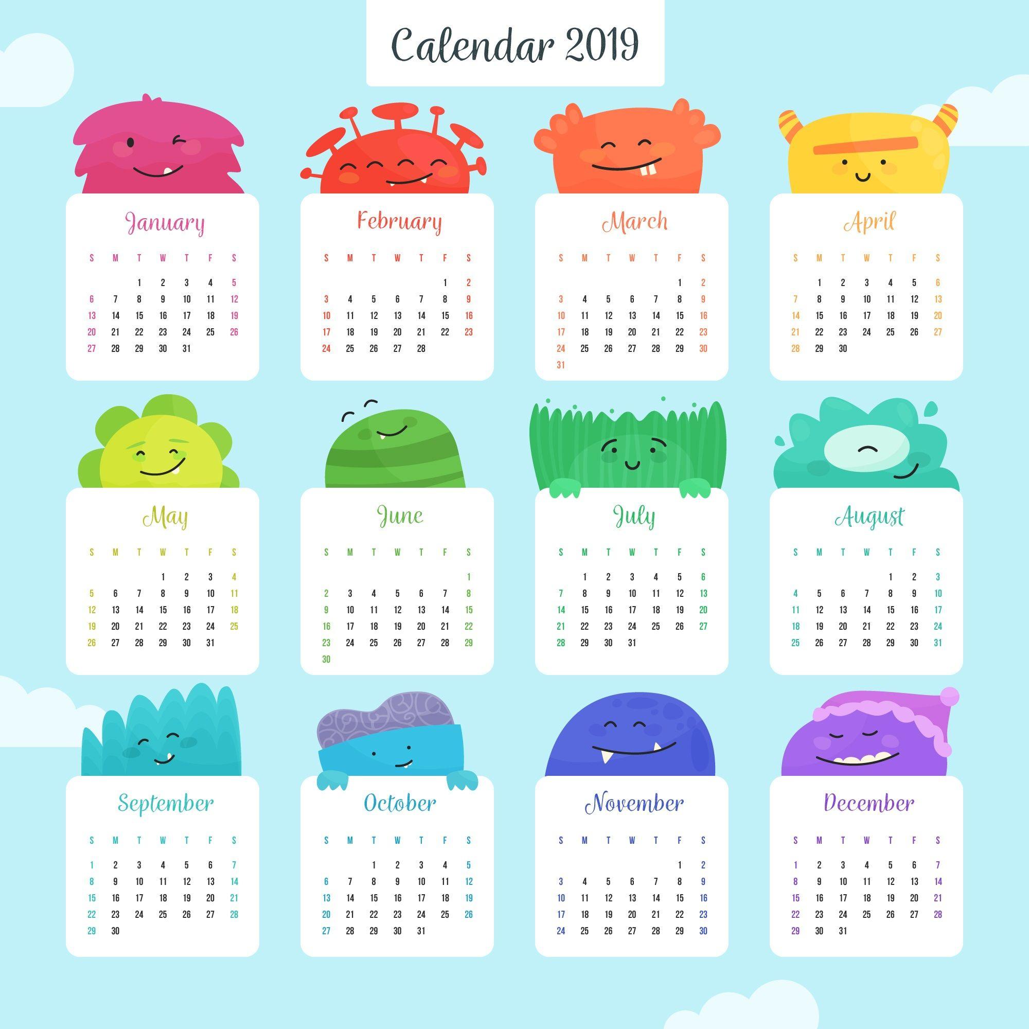 Colorful Calendar For The Year 2019 #2019Calendar #printablecalendar intended for Cute Yearly Calendar Template