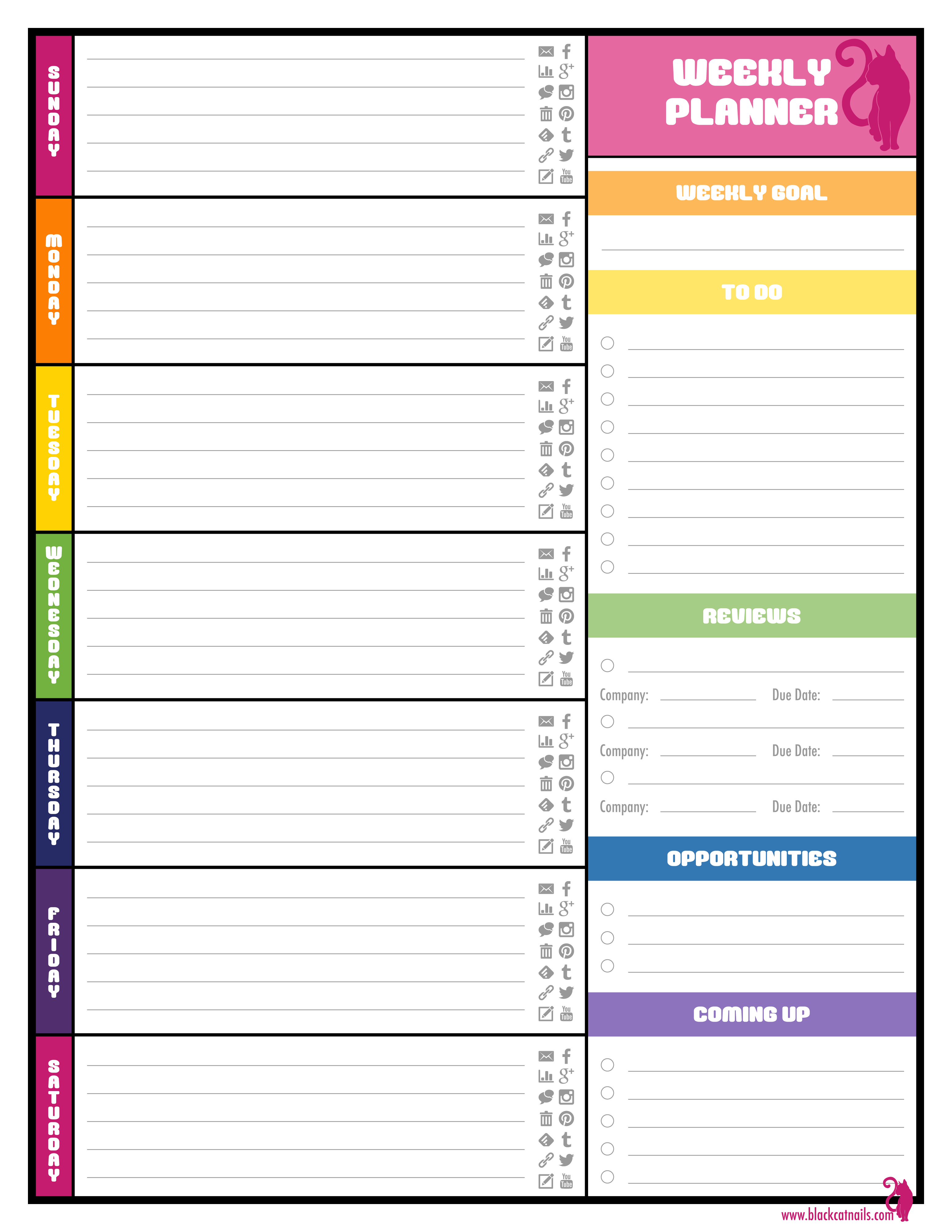 Colorful Weekly Blogging Planner Image | Blog Life | Weekly Planner with regard to Printable Schedule Template For Pages