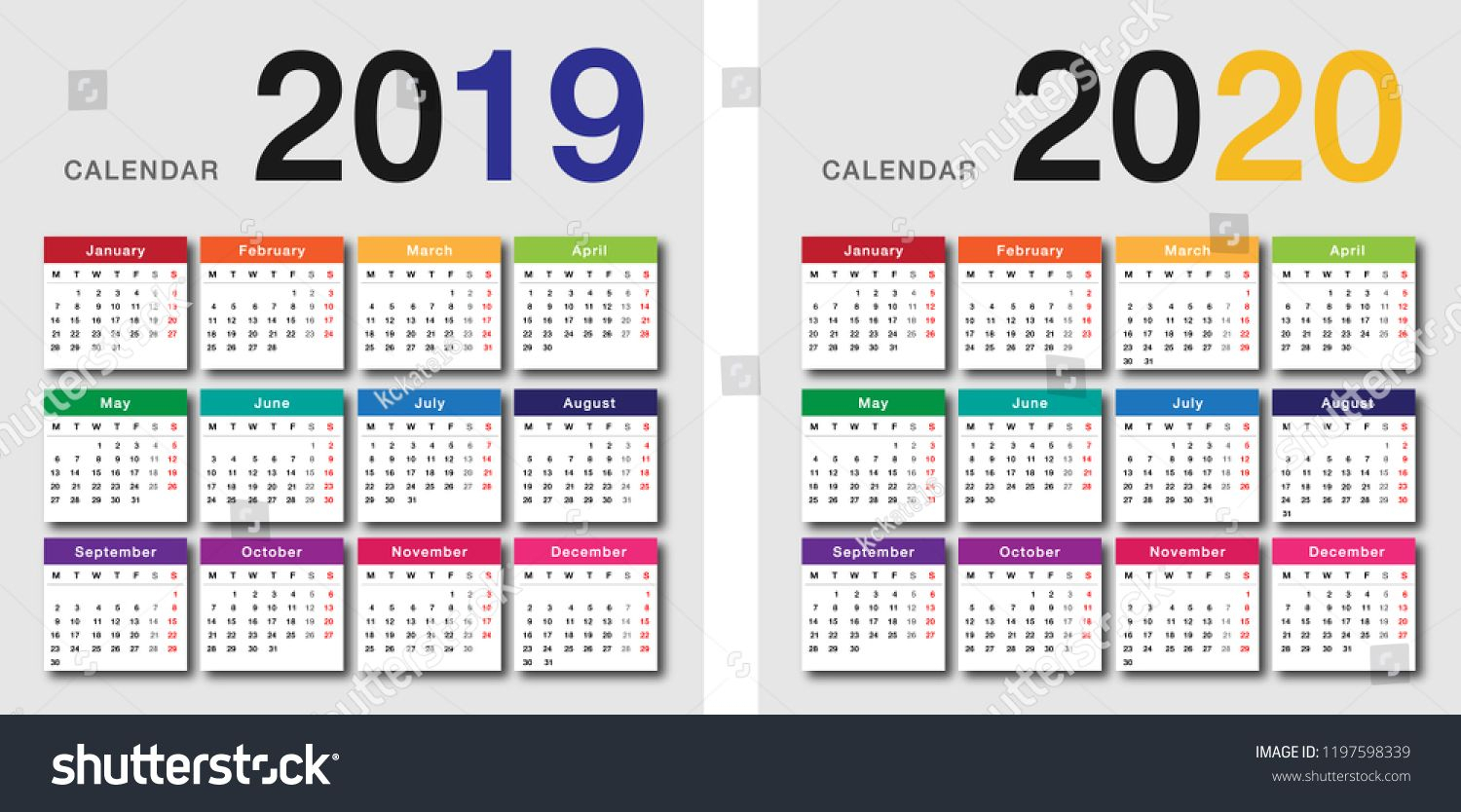 Colorful Year 2019 And Year 2020 Calendar Horizontal Vector Design for I Heart Naptime Calendar 2020
