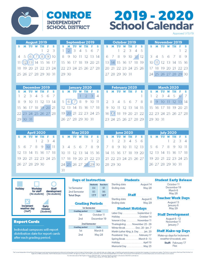 Conroe Isd Trustees Approve 19-20 School Calendar - Conroe Isd with regard to Calendar With Special Days 2020