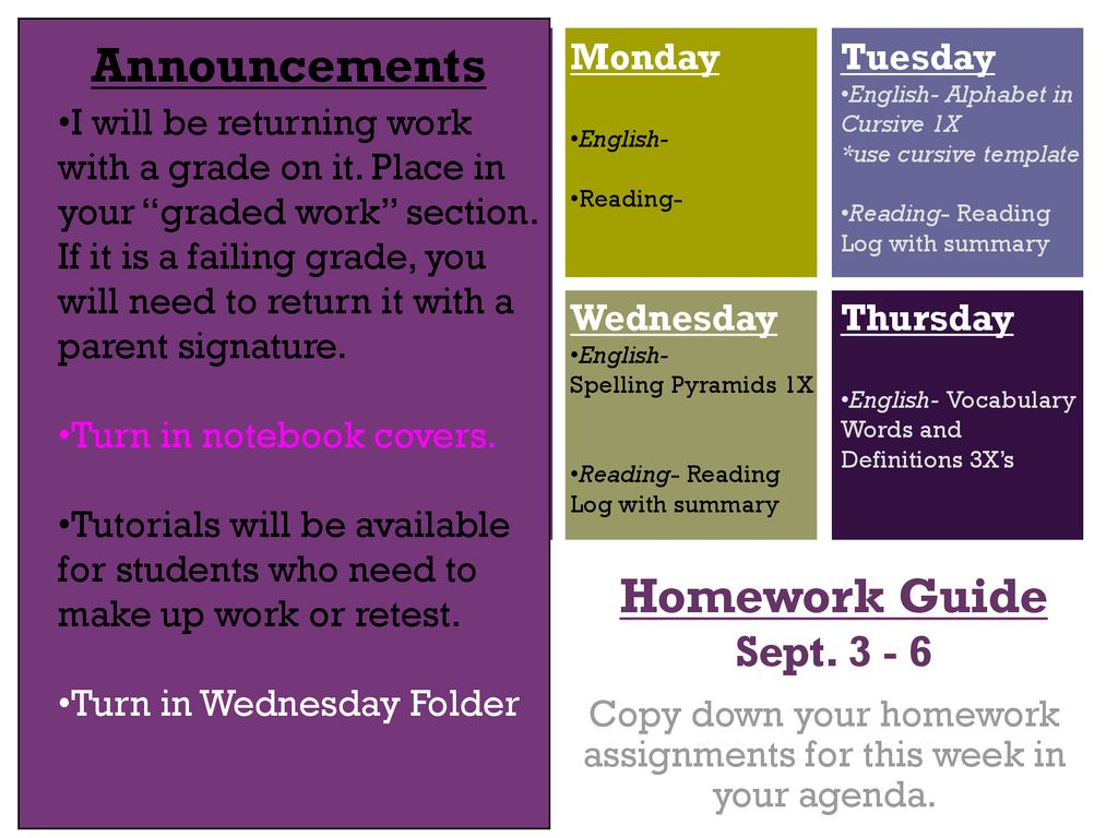 Copy Down Your Homework Assignments For This Week In Your Agenda within Homework Agenda Template 7Th Grade