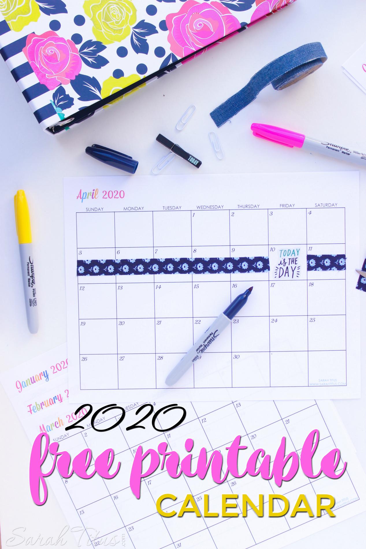 Custom Editable 2020 Free Printable Calendars - Sarah Titus inside 2020 Calendar I Can Edit