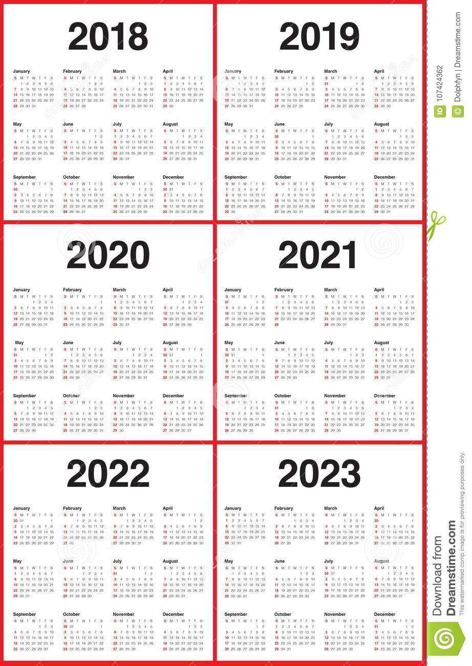 Год 2018 2019 2020 2021 2022 2023 Calendar Вектор Иллюстрация in Print 2019 2020 2021 2022 2023 Calender