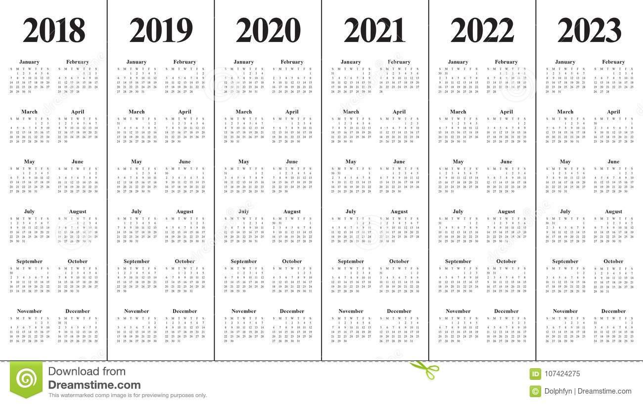 Год 2018 2019 2020 2021 2022 2023 Calendar Вектор Иллюстрация inside Print 2019 2020 2021 2022 2023 Calender