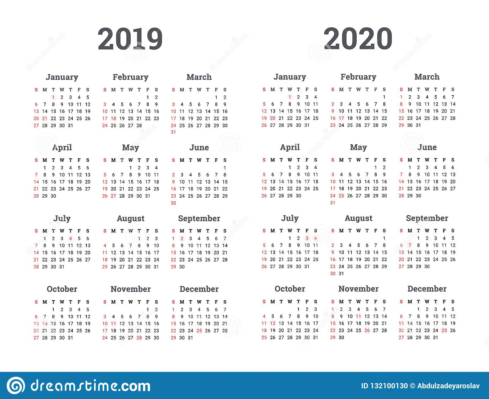 Календарь 2019 2020 Год - Иллюстрация Вектора Старты Недели На intended for U Of R Calendar 2019-2020