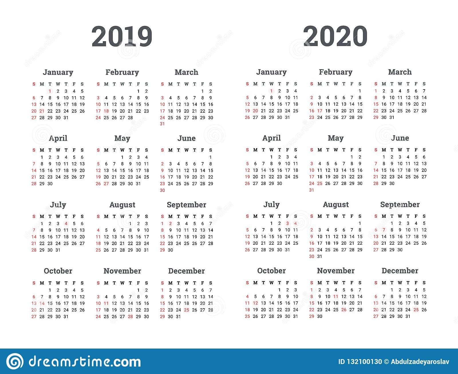 Календарь 2019 2020 Год - Иллюстрация Вектора Старты Недели На in U Of M Calander 2019-2020