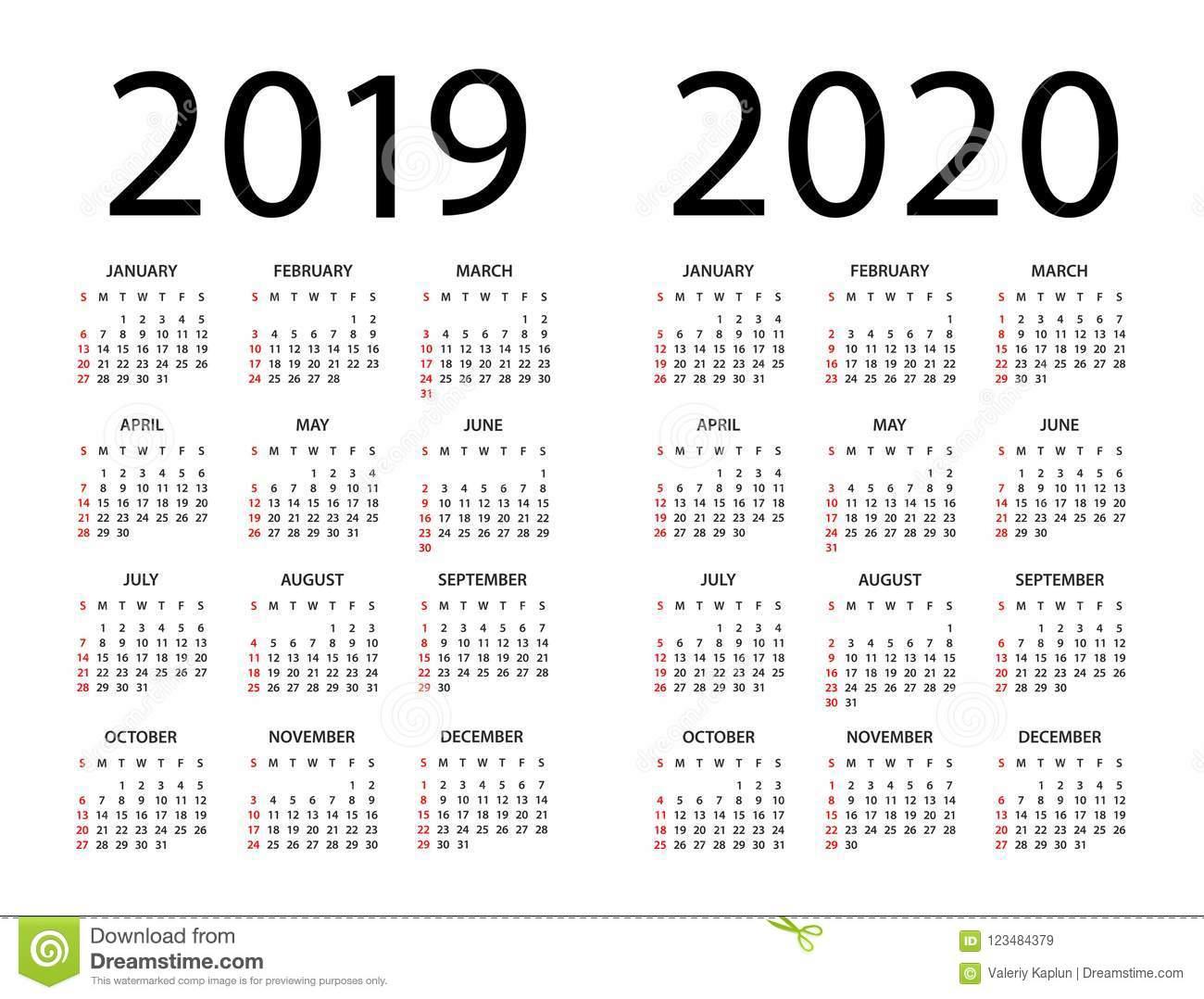 Календарь 2019 2020 - Иллюстрация Старты Недели На Воскресенье regarding U Of R 2020 Calendar