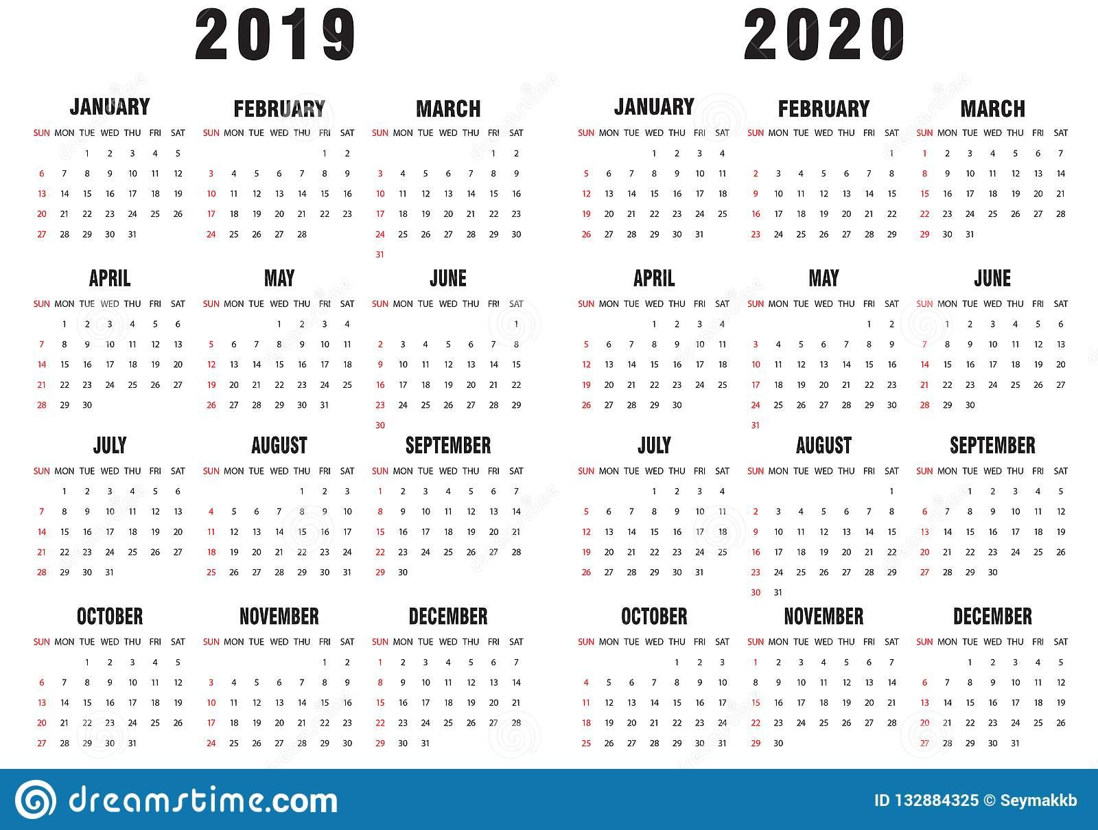 Календарь 2019-2020 Черно-Белый Иллюстрация Вектора - Иллюстрации throughout Calendar 2019 2020 With Boxes
