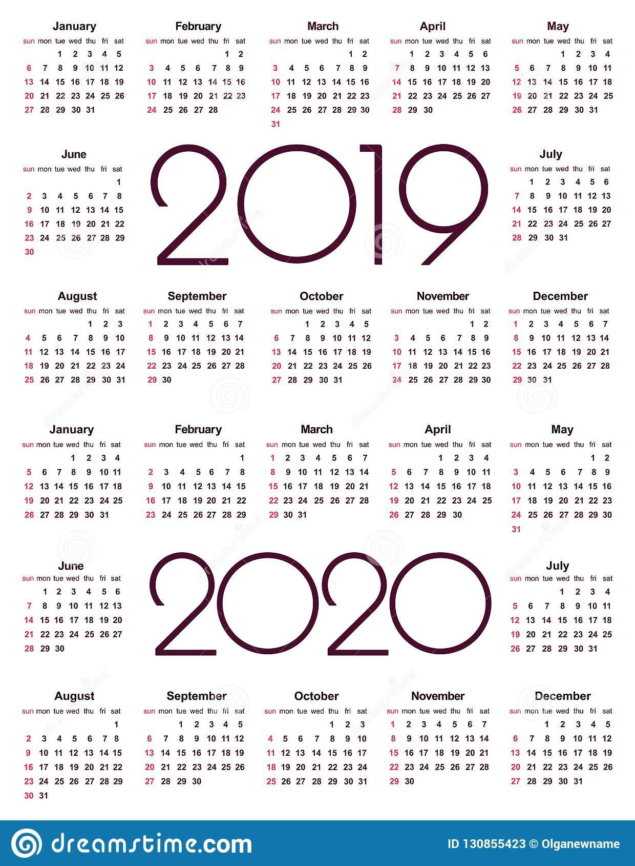 Календарь 2019 И 2020 Год Иллюстрация Вектора. Иллюстрации in U Of R 2020 Calendar