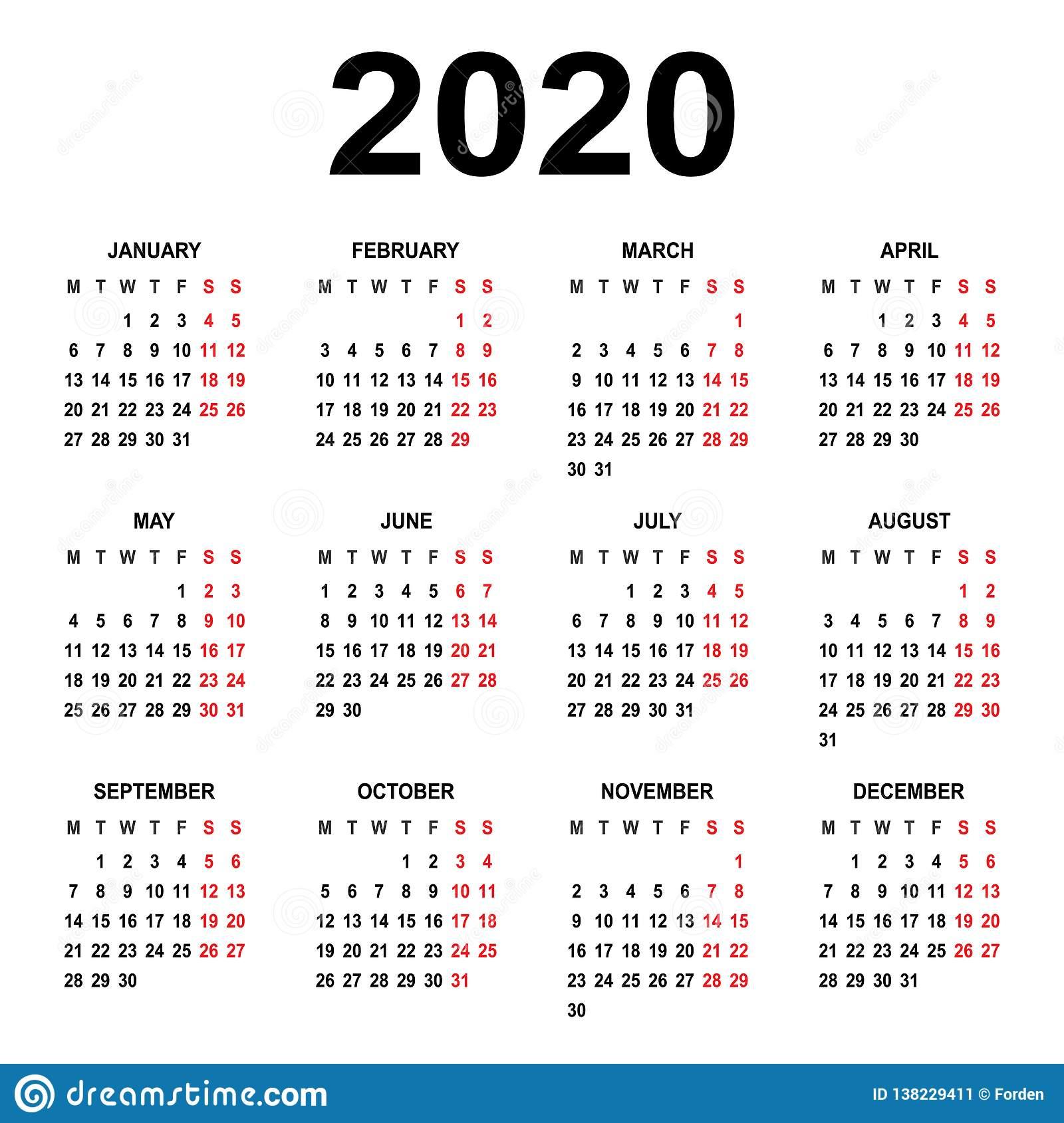 Календарь 2020 Старты Недели На Понедельнике Основная Решетка for U Of R 2020 Calendar
