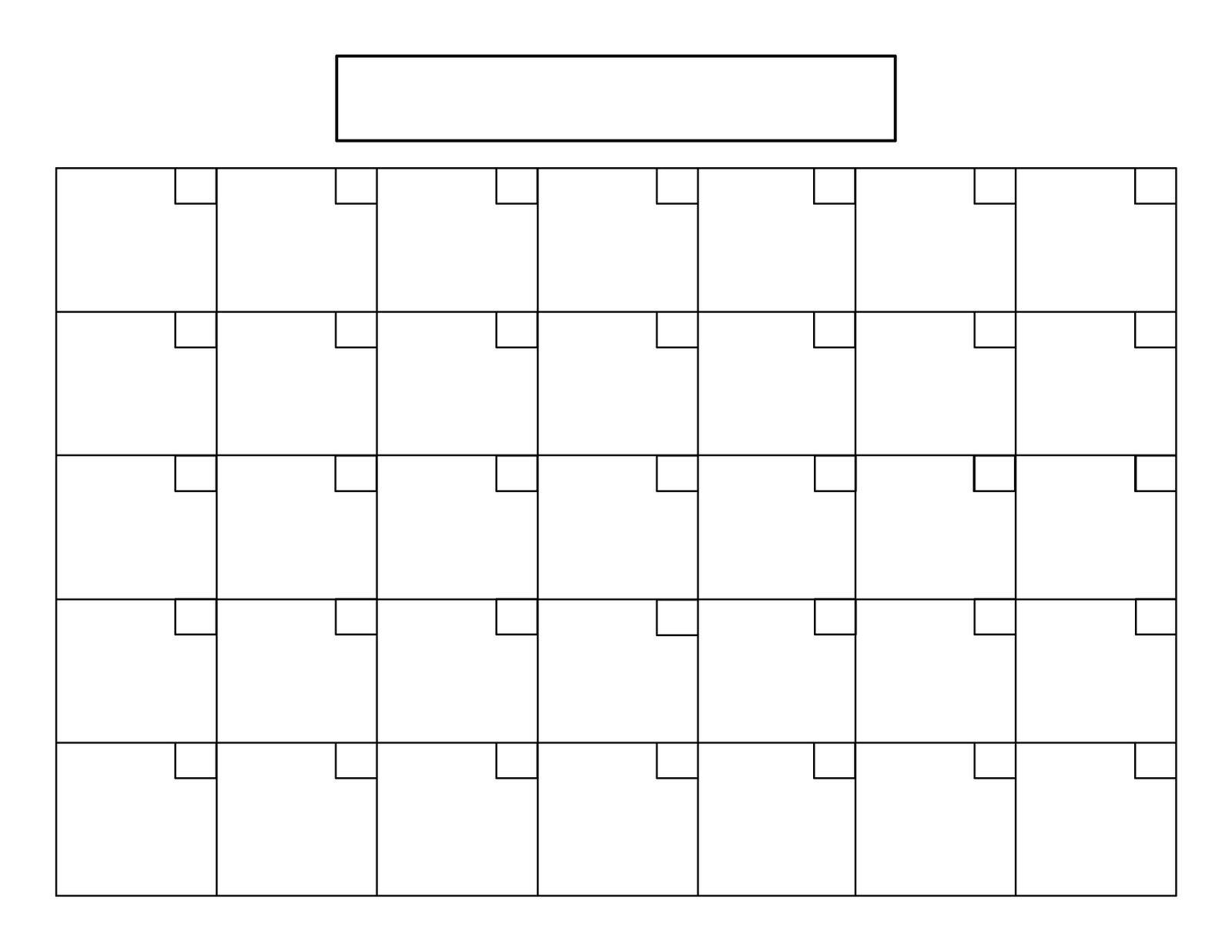 Пустой Календарь Больших Квадратов - Календарь | Календарь | Пустой with regard to Printable Blank 31 Day Calendar