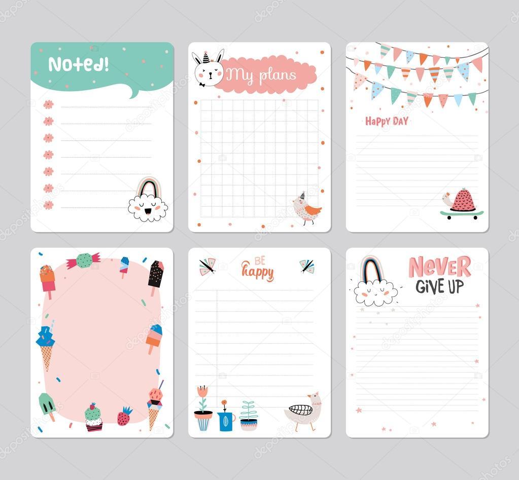 Симпатичный Календарь Планировщик — Векторное Изображение inside Summer Schedule Template For Kids