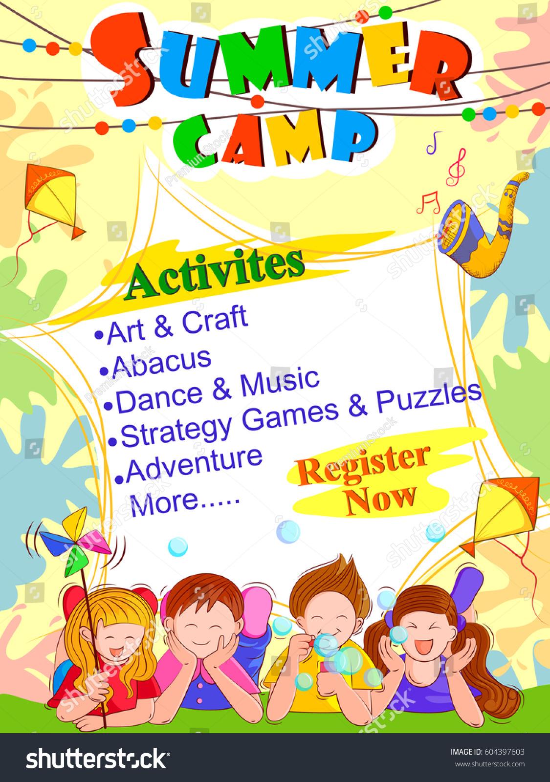 Стоковая Векторная Графика «Vector Design Banner Poster Design with Summer Schedule Template For Kids