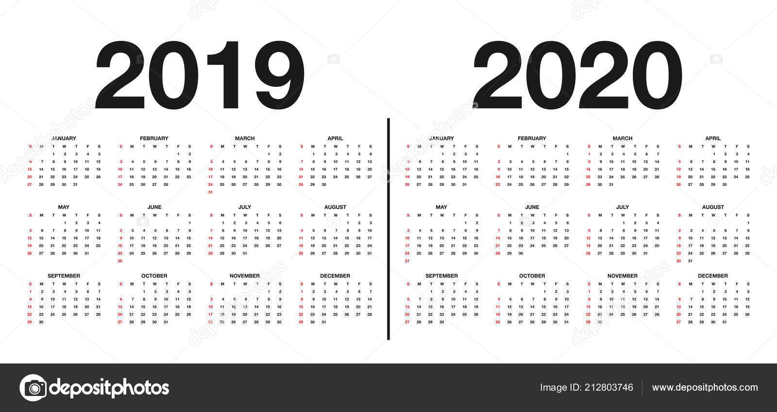 Шаблон Календаря 2020   Календарь 2019 2020 Шаблон Дизайн Календаря throughout Calendar 2019 2020 With Boxes