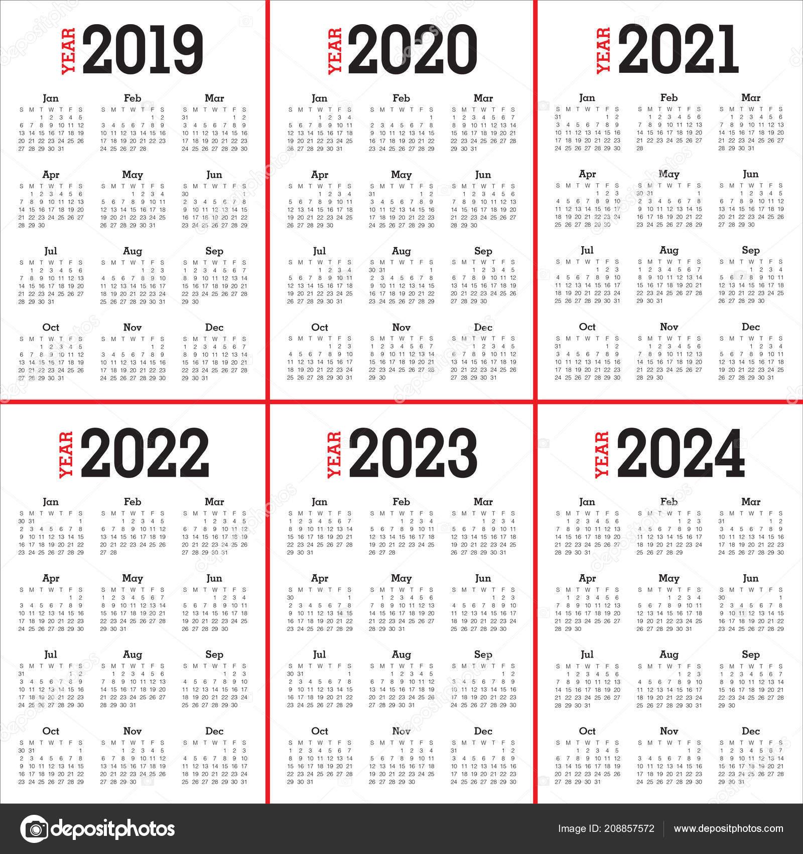 Шаблон Оформления Вектор Календарь 2019 2020 2021 2022 2023 2024 throughout Print 2019 2020 2021 2022 2023 Calender
