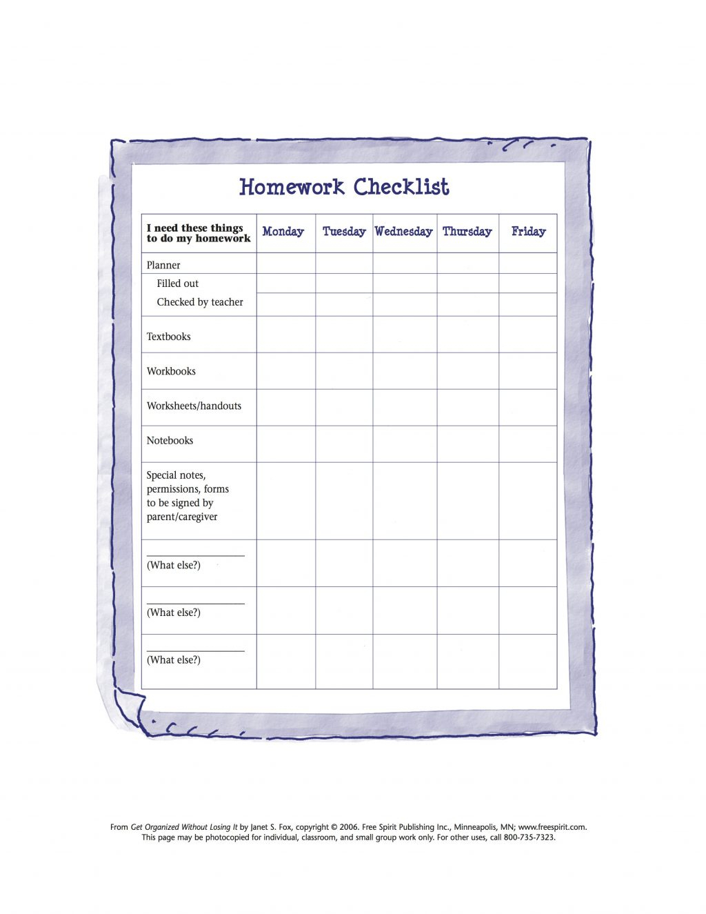 Daily Homework Checklist Template Printable Weekly For Teachers Pdf with Large Printable Daily Schedule Template
