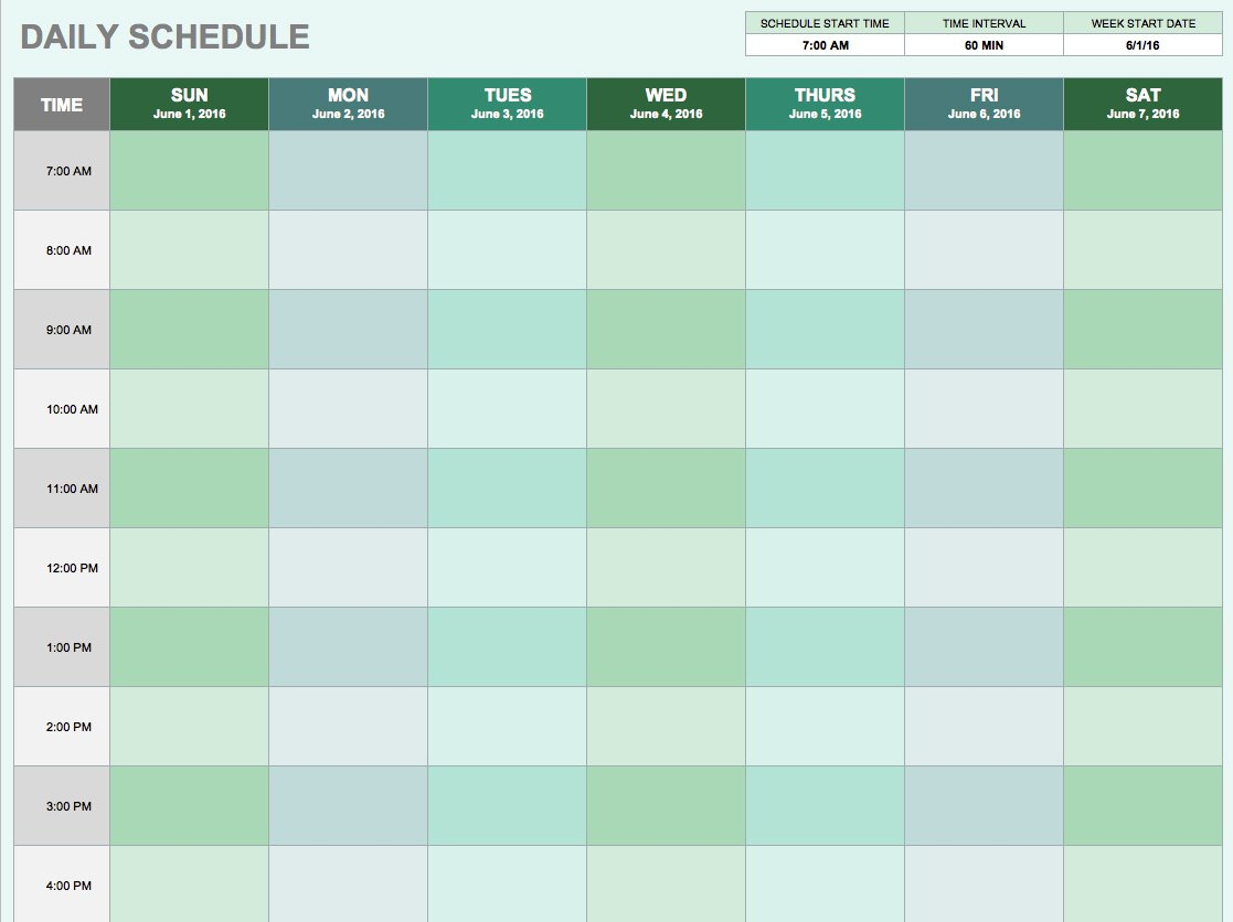 Daily Hourly Planner Template Excel - Infer.ifreezer.co throughout Daily Planner Printable Calendar Templates