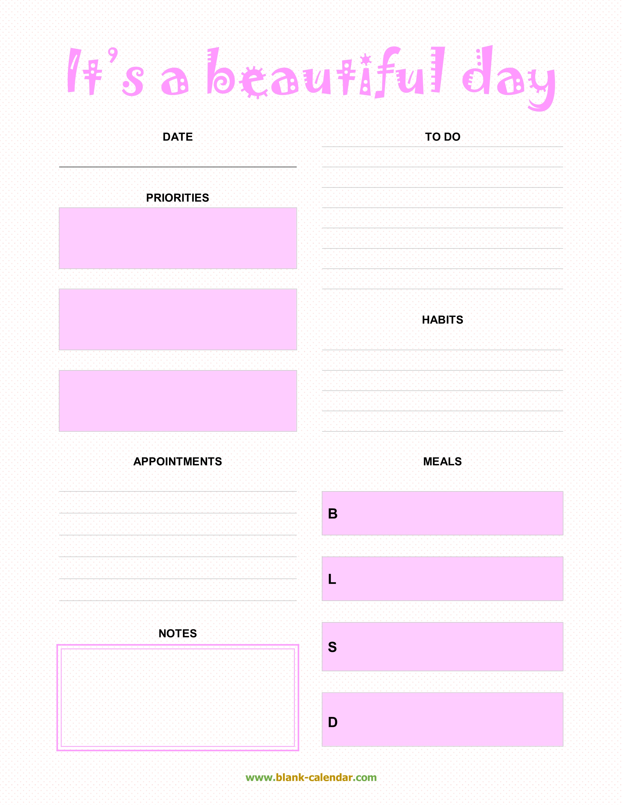 Daily Planner Templates (Word, Excel, Pdf) throughout Daily Planner Templates Pretty