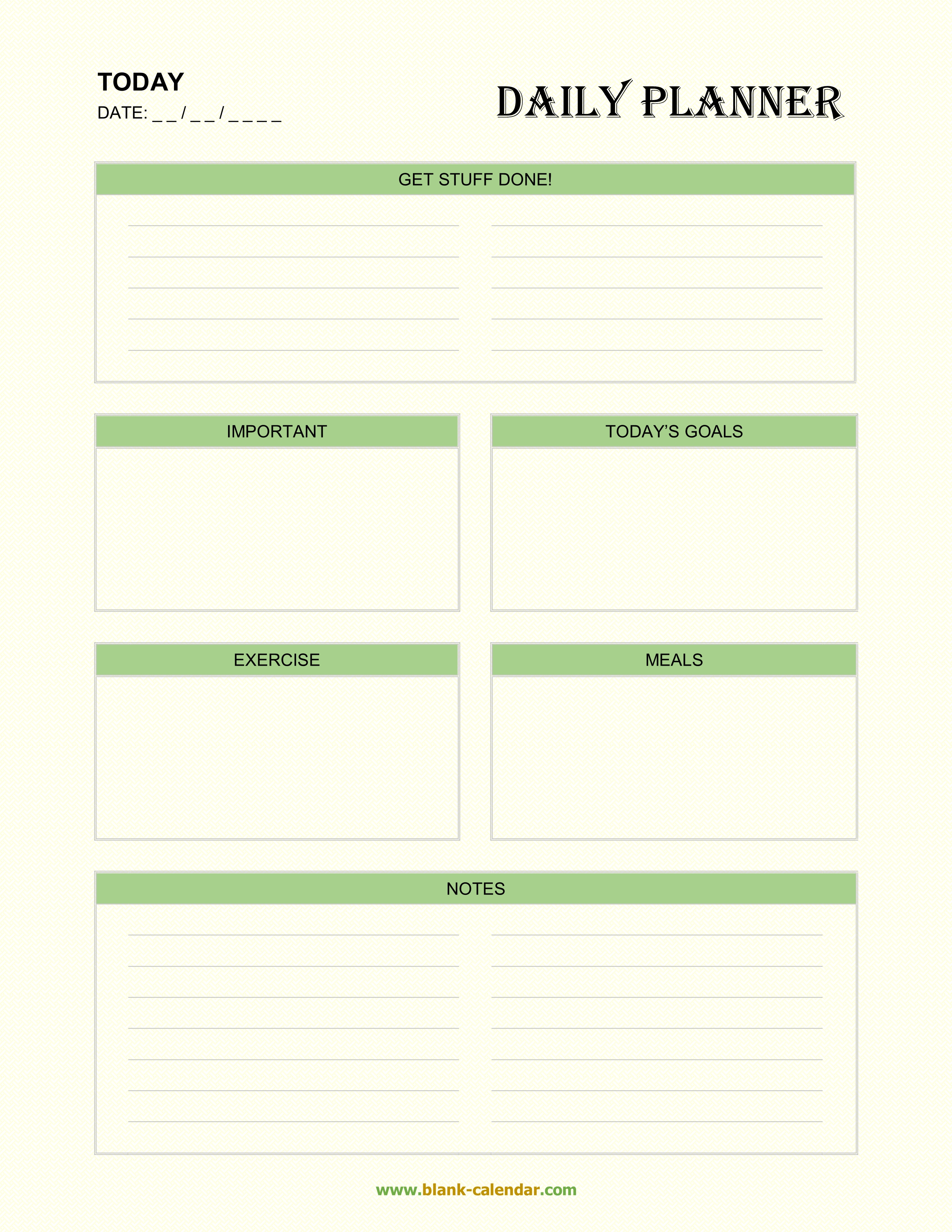 Daily Planner Templates (Word, Excel, Pdf) within Daily Planner Printable Calendar Templates