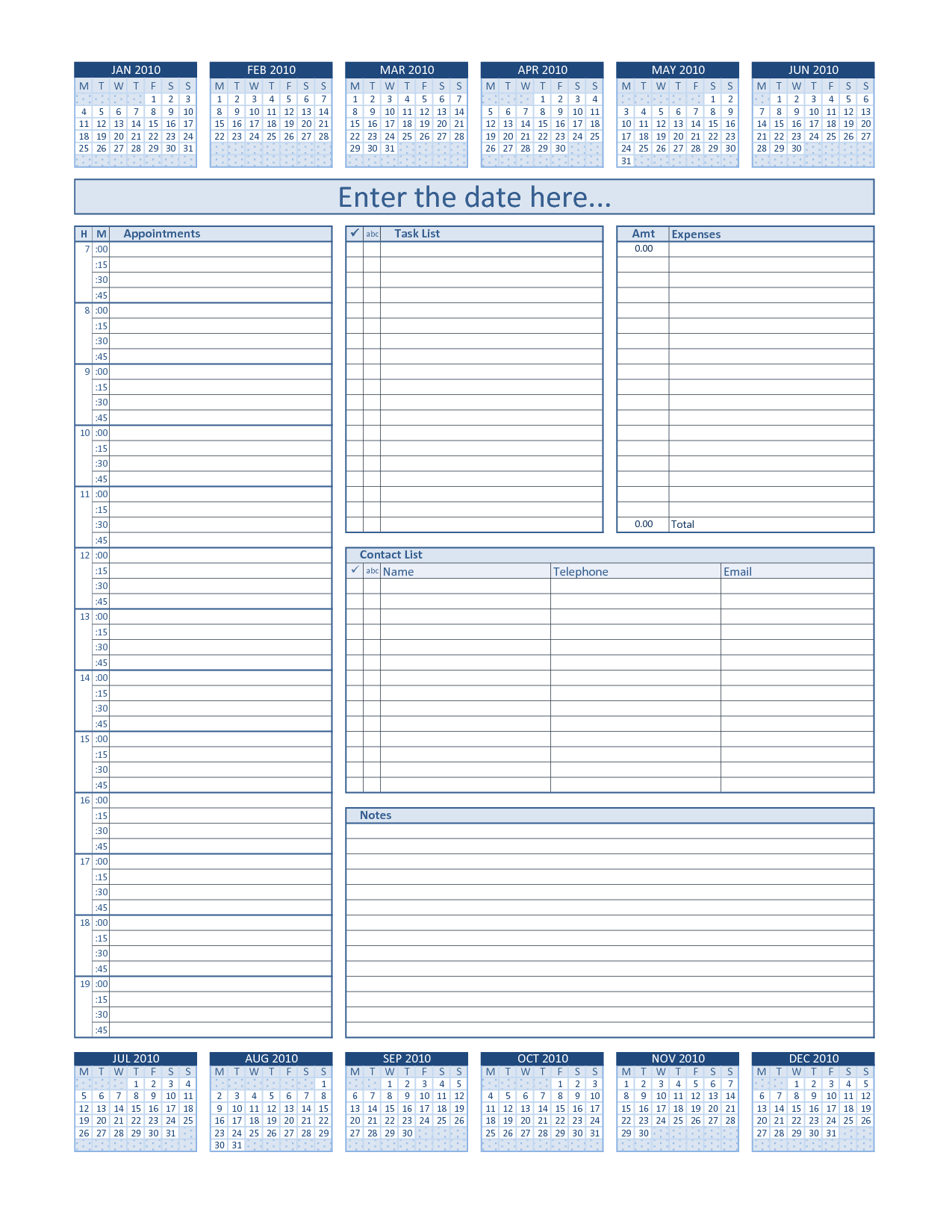 Daily Project Organizer Templates Free | Daily Planner For 2010 with regard to Daily Planner Printable Calendar Templates