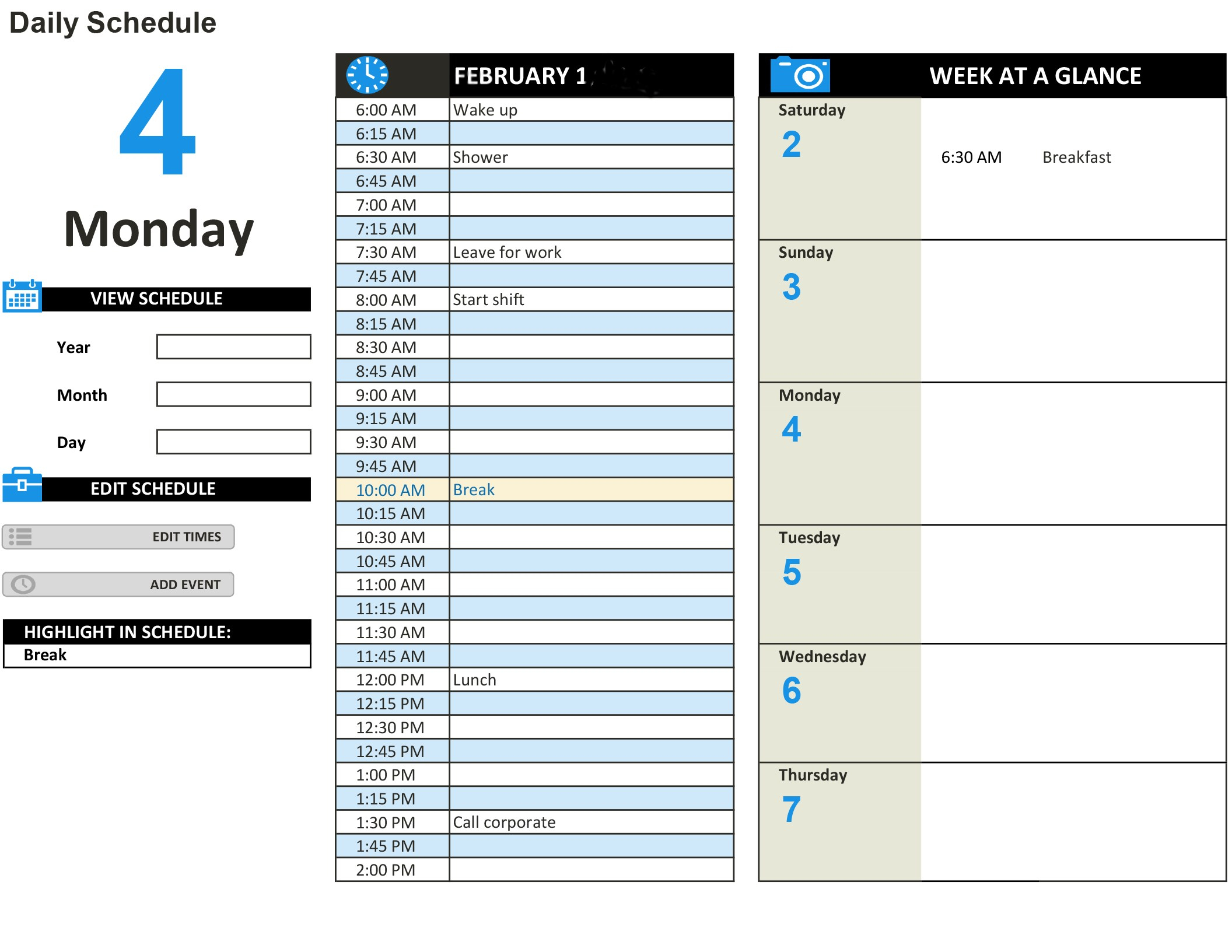 Daily Schedule Excel inside Blank Weekly Am/pm Schedule Template