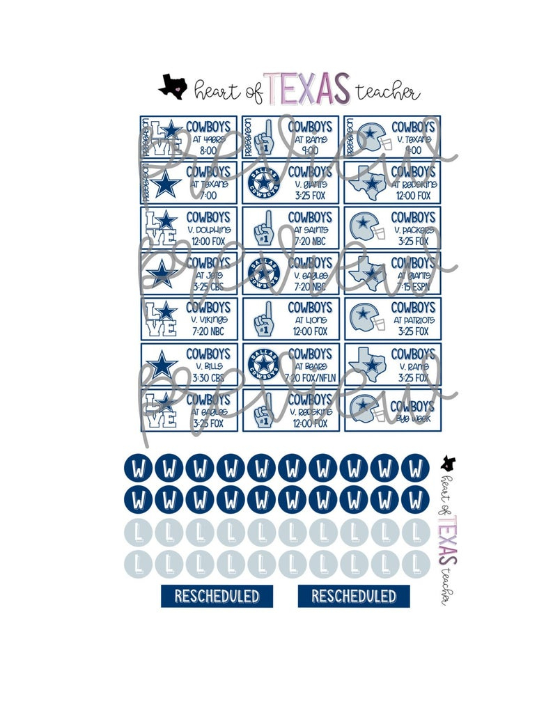 Dallas Cowboys 2019-2020 Season Schedule Stickers For Erin Condren Life  Planner {Instant Download} inside Free Printable 2019-2020 Nfl Season Schedule