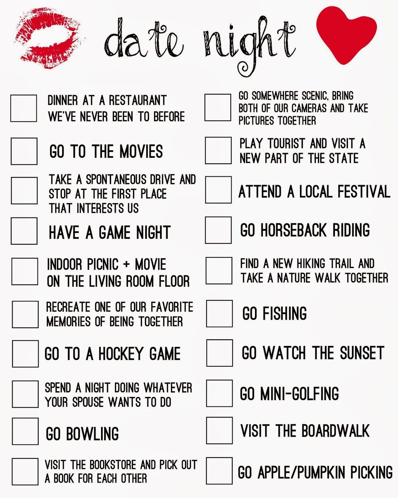 Date Night Ideas Checklist - Free Printable | Living La Vida Holoka within Planning Date Night Checklist Template