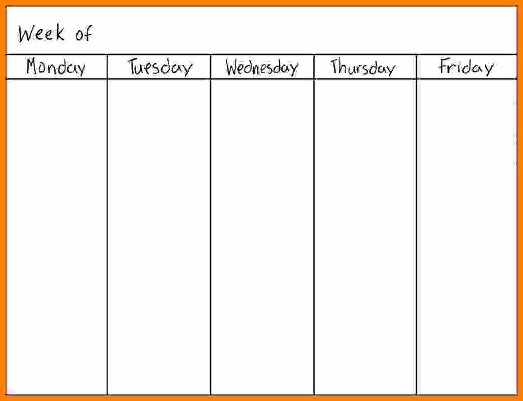 Day Of The Week Calendar Free Blank 5 Day Weekly Calendar 2018 regarding Blank Calendar Printable 5 Day