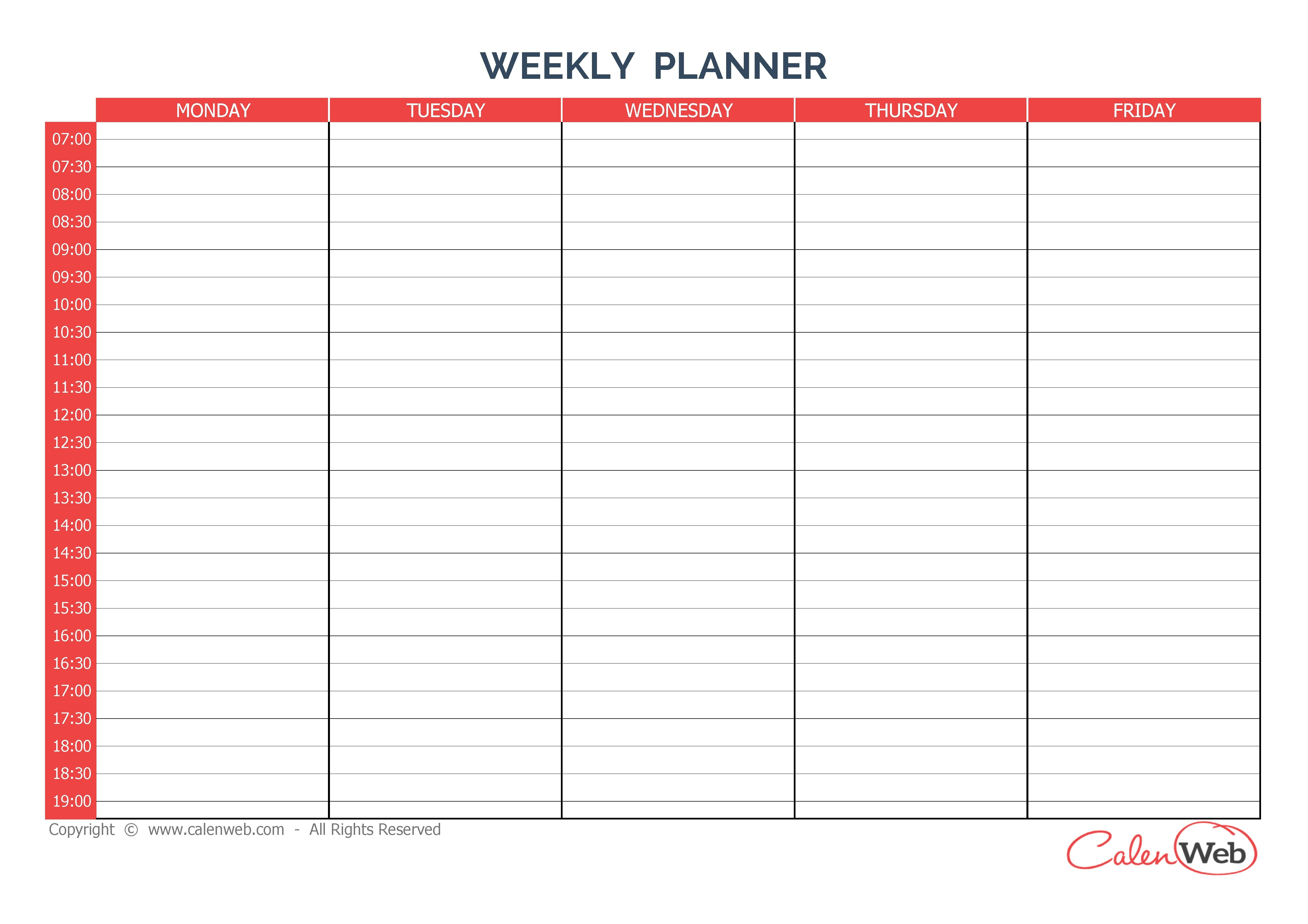 Day Weekly Dar Template Excel Microsoft Word Schedule | Smorad within 5 Day Calendar Template Free