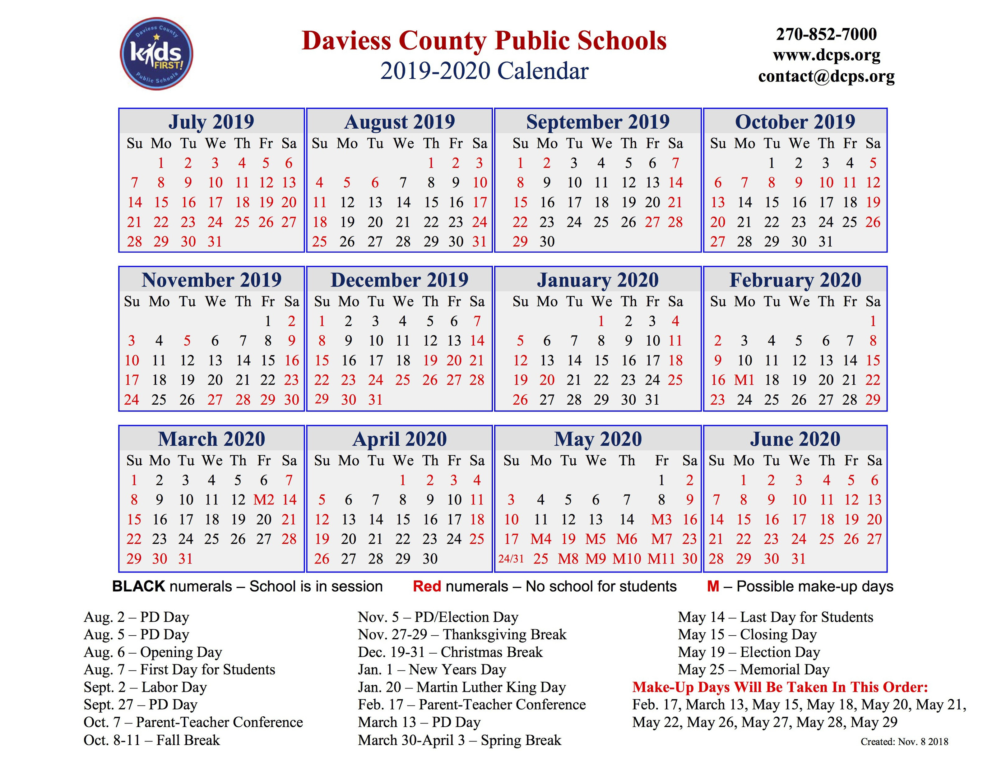 Dcps Approves 2019-2020 Calendar - The Owensboro Times for Calender Of Special Days 2020