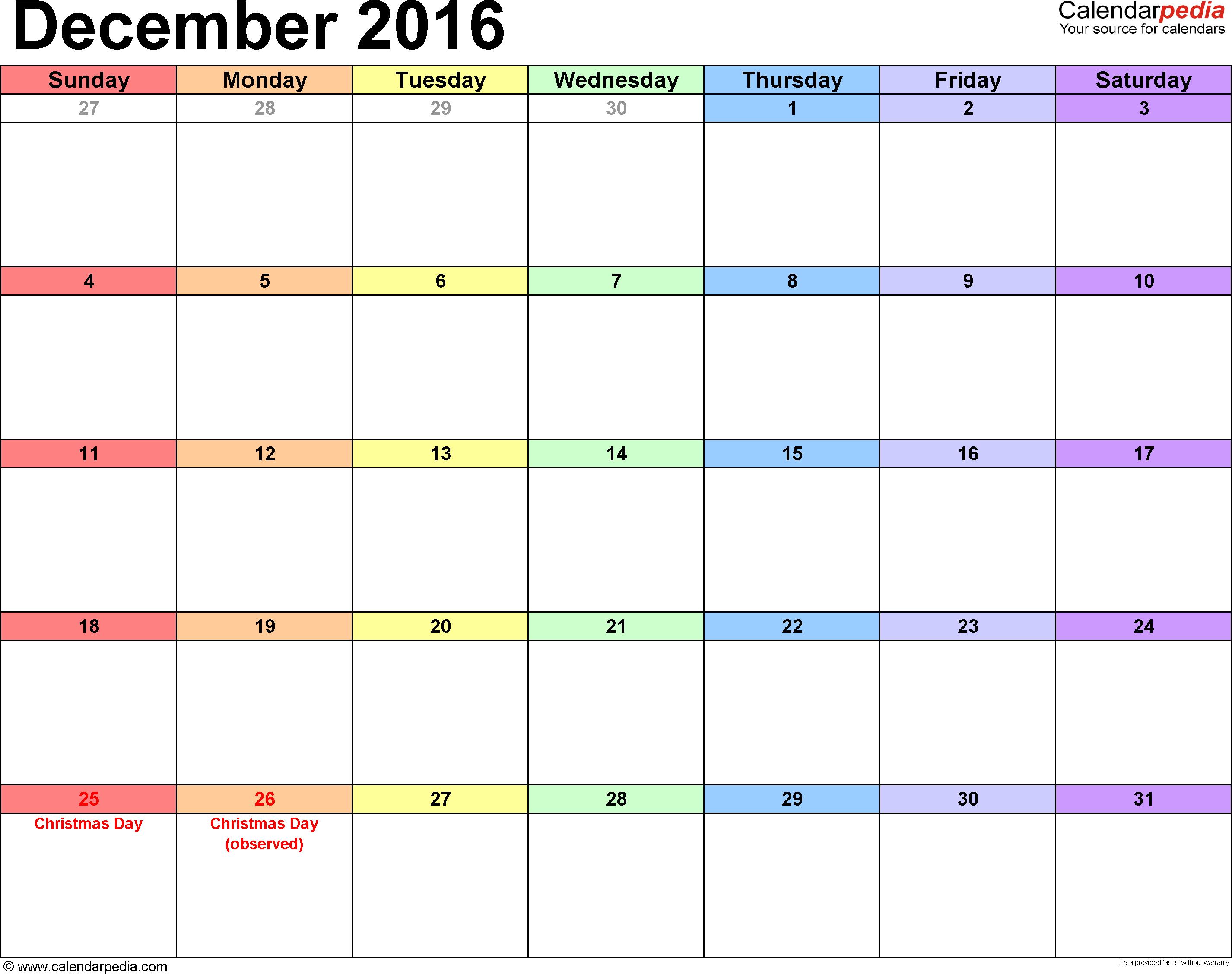 December 2016 Calendars For Word, Excel & Pdf for December Blank Calendar Page Printable