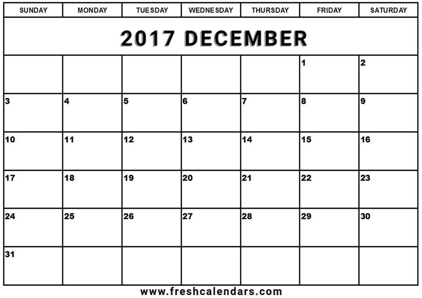 December 2017 Calendar Printable - Fresh Calendars for Blank Calendar For December