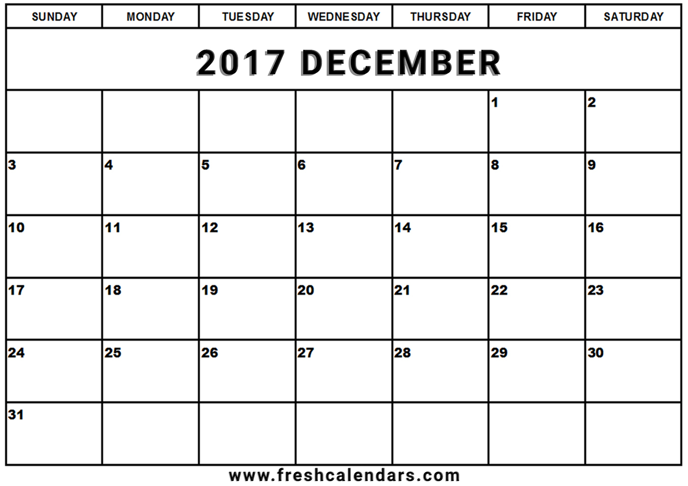 December 2017 Calendar Printable - Fresh Calendars with regard to Blank Printable December Calandar